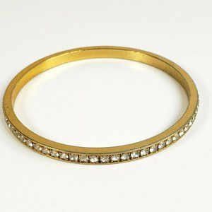 Avon Gold Rhinestone Bangle Bracelet Clear 8 1/2""